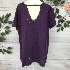 TORRID Size 2 Distressed Lace Black Purple Top